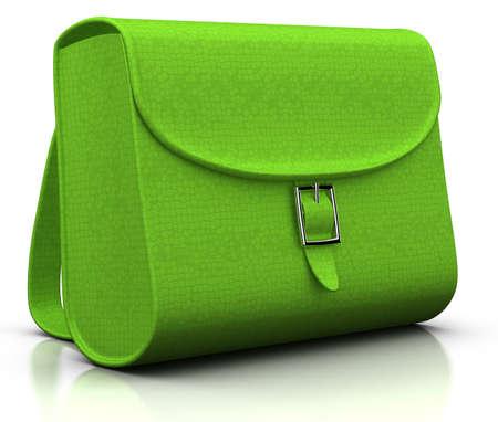 green satchel isolated on white - 3d illustrationrendering Stock Photo