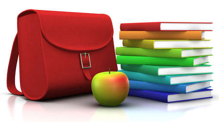 red satchel and a stack of colorfull books with an apple in front of them - 3d illustrationrendering