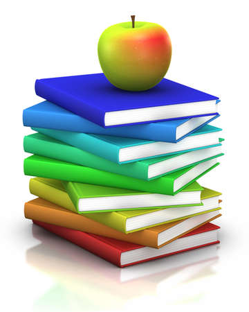 first day of school: colorful stack of books  with a tasty apple on top - 3d illustrationrendering