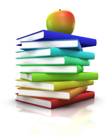 colorful stack of books with an apple on top - 3d illustrationrendering illustration