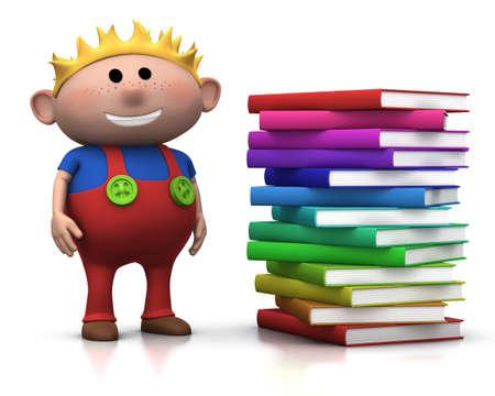 ni�o parado: brownhaired lindo chico de pie al lado de una gran pila de libros - 3d fotorrealismo o una ilustraci�n  Foto de archivo