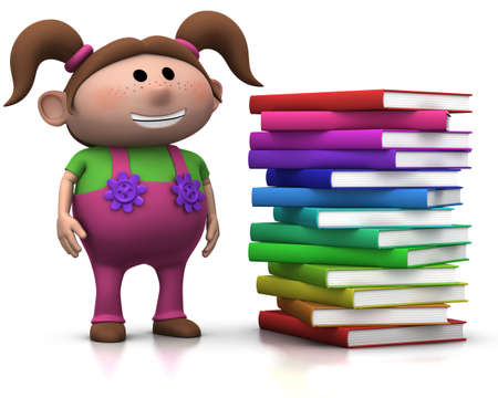 cute brownhaired girl standing beside a big stack of books - 3d rendering/illustration Stock Illustration - 7696240