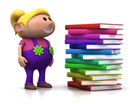 several: cute blond girl standing beside a big stack of books - 3d renderingillustration Stock Photo