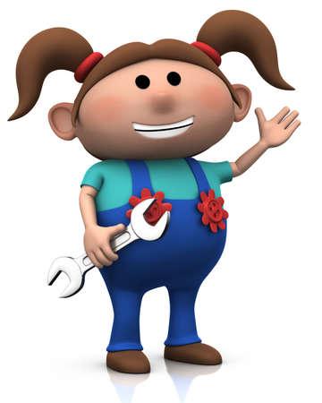 cartoon girl with wrench - 3d renderingillustration illustration