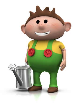 watering pot: cartoon girl with watering can - 3d renderingillustration