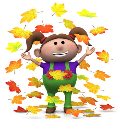 young leaf: cartoon girl playing with autumn leaves - 3d renderingillustration