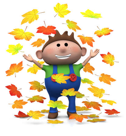 young leaf: cartoon boy playing with autumn leaves - 3d renderingillustration Stock Photo