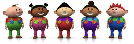 big five: five colorful multi-ethnic cartoon kids with big smiles on their faces -  3d renderingillustration Stock Photo