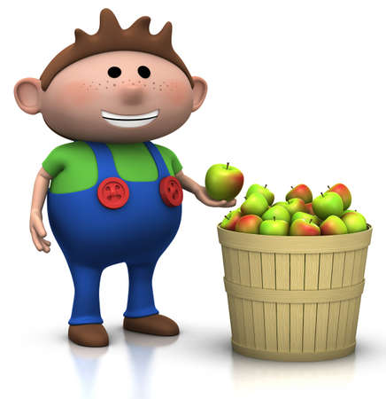 freckles: boy standing next to a basket full of apples - 3d rendering  3d illustration Stock Photo