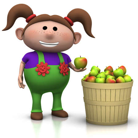 freckles: girl standing next to a basket full of apples - 3d rendering  3d illustration Stock Photo