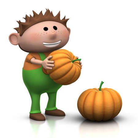 smiling little boy with large pumkins - 3d rendering  3d illustration illustration