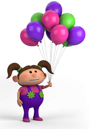 brown-haired girl with balloons; high quality 3d illustration