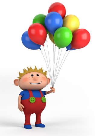 blond boy with balloons; high quality 3d illustration