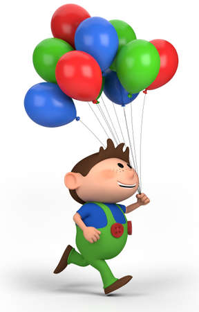 bib overall: brown-haired boy with balloons; high quality 3d illustration