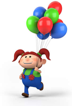red-haired girl with balloons; high quality 3d illustration Stock Photo