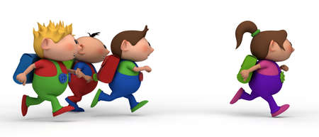 bib overall: school kids running from left to right - three boys chasing a girl - back to school concept Stock Photo