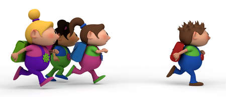 bib overall: school kids running from left to right - three girls chasing a boy - back to school concept