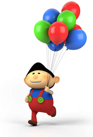 brown-haired boy with balloons; high quality 3d illustration illustration