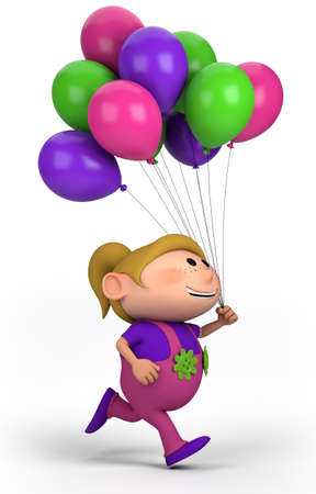 brown haired girl: brown-haired girl with balloons; high quality 3d illustration
