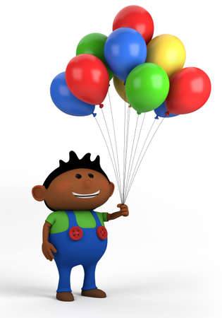 cute blonde: blond boy with balloons; high quality 3d illustration