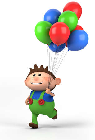 dungarees: brown-haired boy with balloons; high quality 3d illustration
