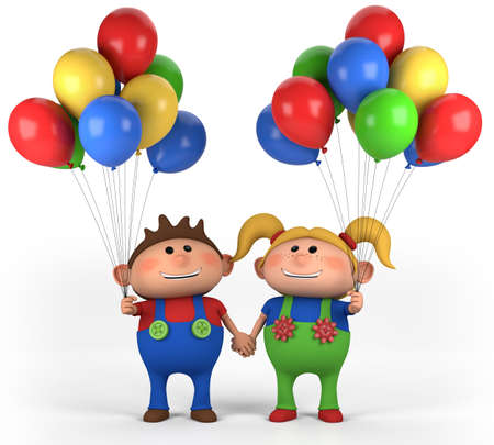 brown haired girl: brown-haired boy with balloons; high quality 3d illustration