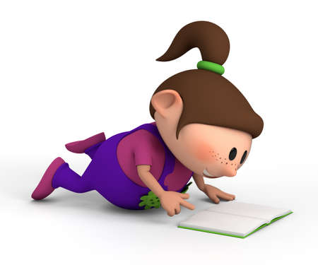 cute little girl lying on the floor reading a book - high quality 3d illustration illustration