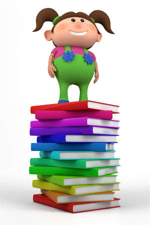 bib overall: cute little girl standing on top of a stack of books - high quality 3d illustration Stock Photo