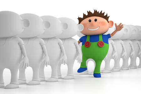 individuality: colorful little boy standing out from the crowd - high quality 3d illustration