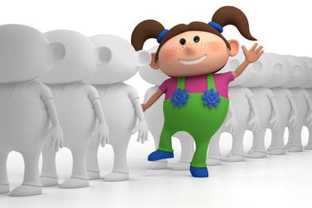 standing on white background: colorful little girl standing out from the crowd - high quality 3d illustration