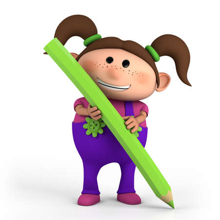 first day of school: cute cartoon girl with colored pencil- high quality 3d illustration