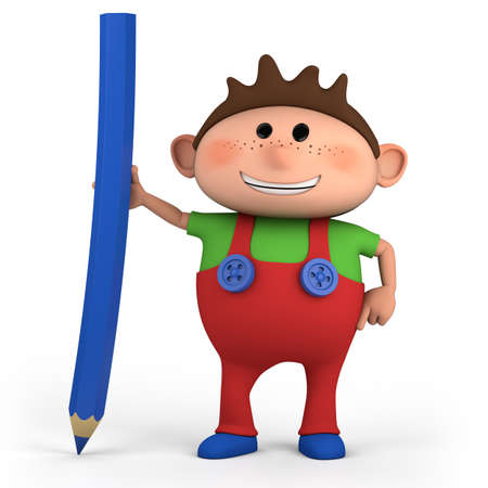 kids writing: cute cartoon boy with colored pencil - high quality 3d illustration
