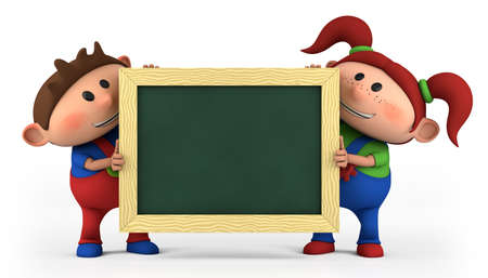 bib overall: cute cartoon boy and girl with blackboard - high quality 3d illustration Stock Photo