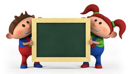 cute cartoon boy and girl with blackboard - high quality 3d illustration illustration