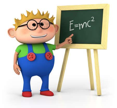 friki: Smart little boy con pizarra - ilustraci�n 3d de alta calidad