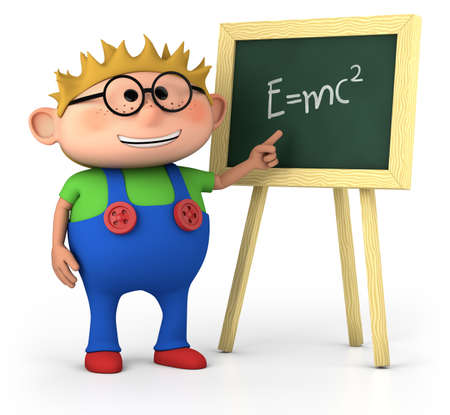 smart little boy with blackboard - high quality 3d illustration