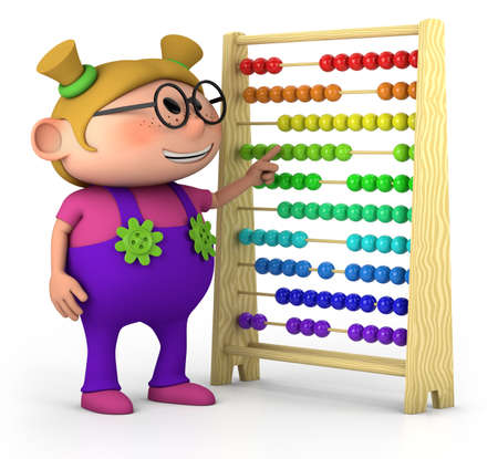dungarees: smart little girl with abacus