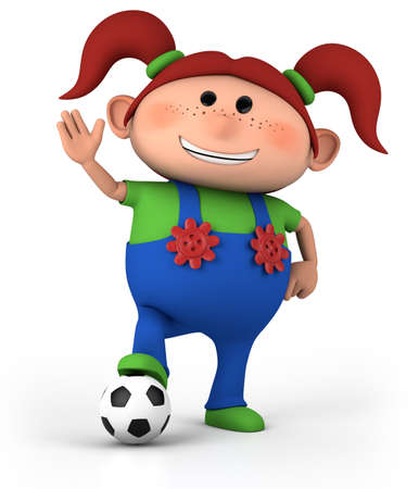 cute little cartoon girl with soccer ball and waving - high quality 3d illustration illustration
