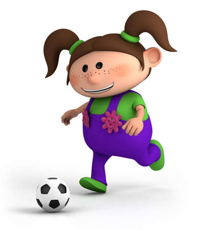 bib overall: cute little cartoon girl playing soccer - high quality 3d illustration Stock Photo