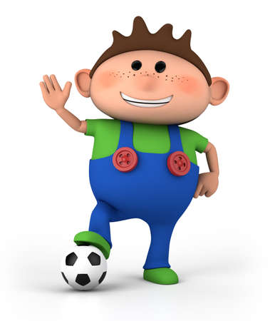 dungarees: cute little cartoon boy with soccer ball - high quality 3d illustration