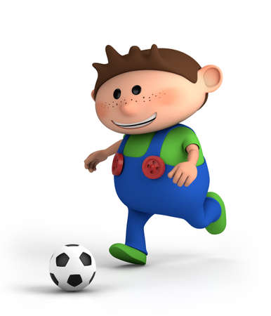 red haired person: cute little cartoon boy playing soccer - high quality 3d illustration