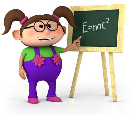 brown haired: smart little girl with blackboard - high quality 3d illustration