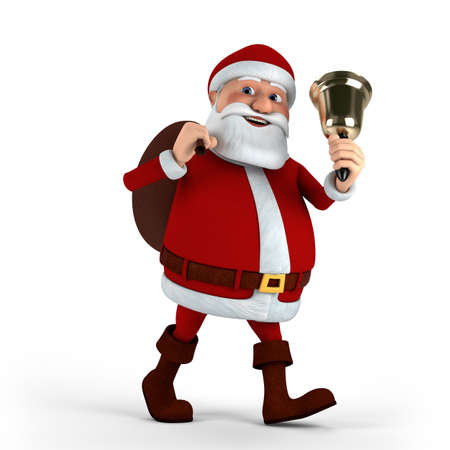 Cartoon Santa Claus with bell and sack on white background - high quality 3d illustration Stock Illustration - 10109332