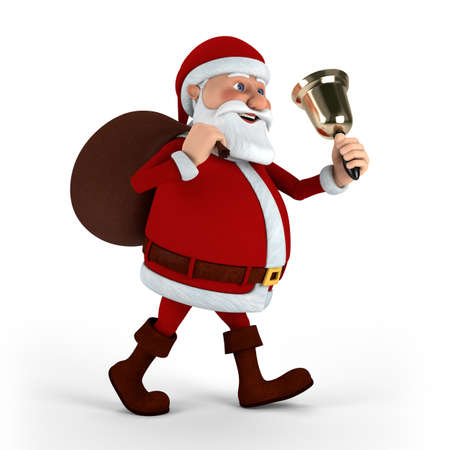 Cartoon Santa Claus with bell and sack on white background - high quality 3d illustration illustration