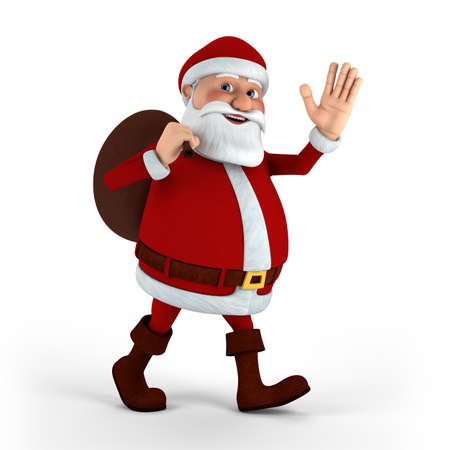 Cartoon Santa Claus on white background - high quality 3d illustration