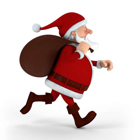 Cartoon Santa Claus running with sack on white background - high quality 3d illustration Stock Illustration - 10109326