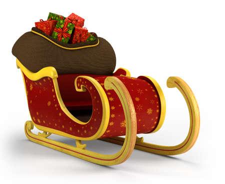 papa noel trineo: Ilustraci�n 3d Santa s trineo - sobre fondo blanco - alta calidad