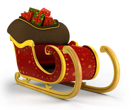 Santa s sleigh  - on white background - high quality 3d illustration Stock Photo