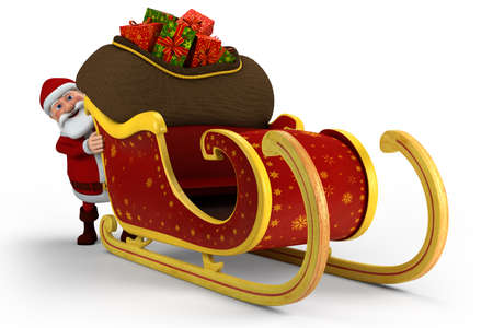 man pushing: Cartoon Santa Claus pushing his sleigh - on white background - high quality 3d illustration