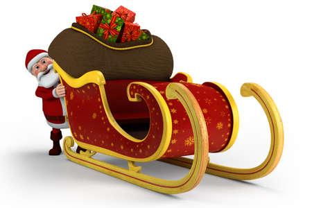 christmas sleigh: Cartoon Santa Claus pushing his sleigh - on white background - high quality 3d illustration
